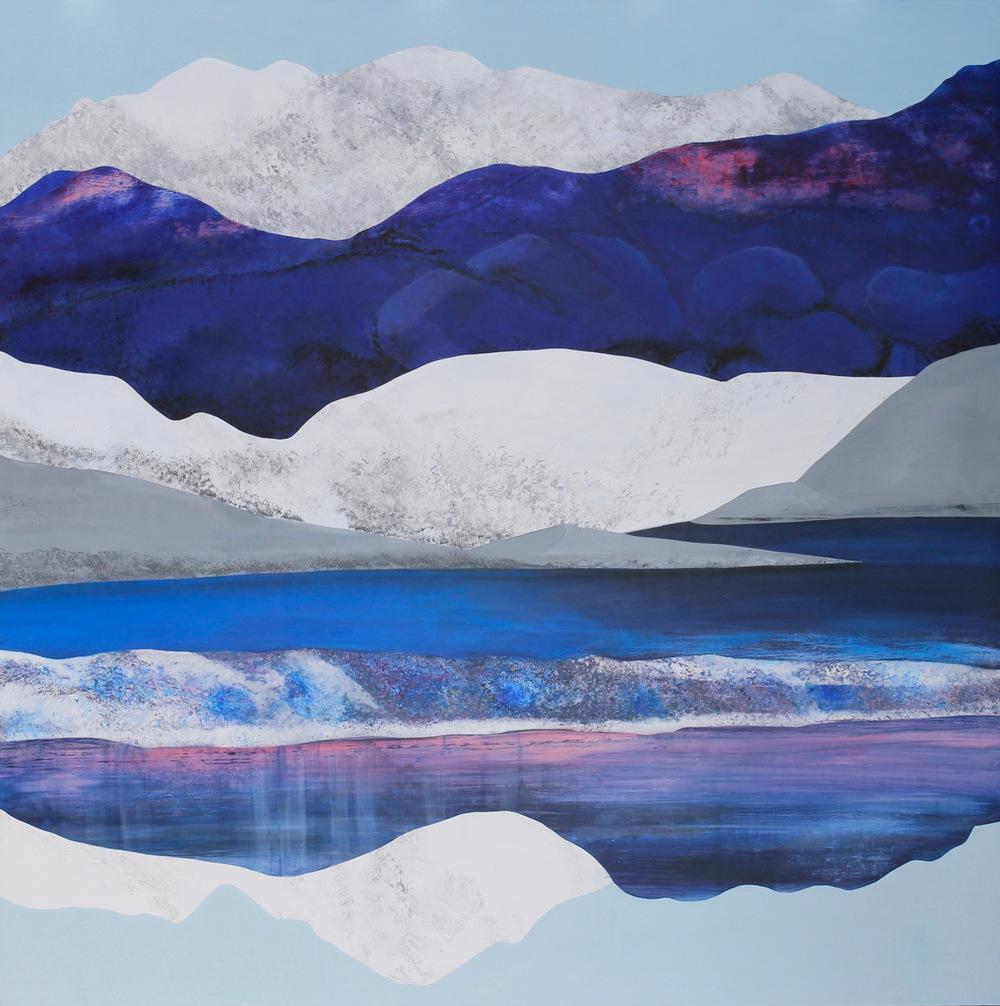 """Alpen Glow, 58x58"""". Acrylic. ©2016SarahWinkler"""
