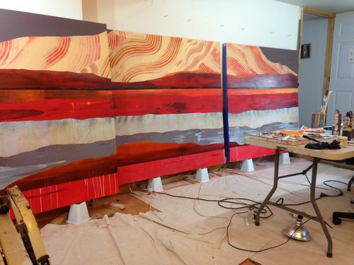 The large scale painting/triptych in Winkler's studio