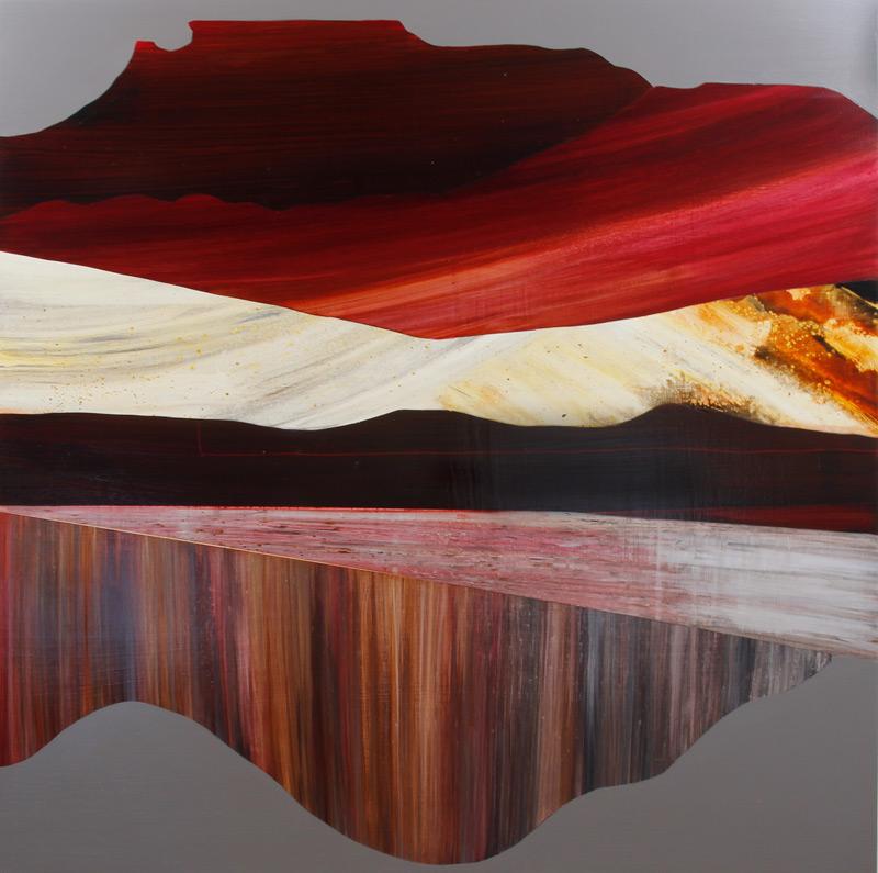 "Tectonic Shifting of Dry Oceans, 40x40"", Acrylic on Panel"