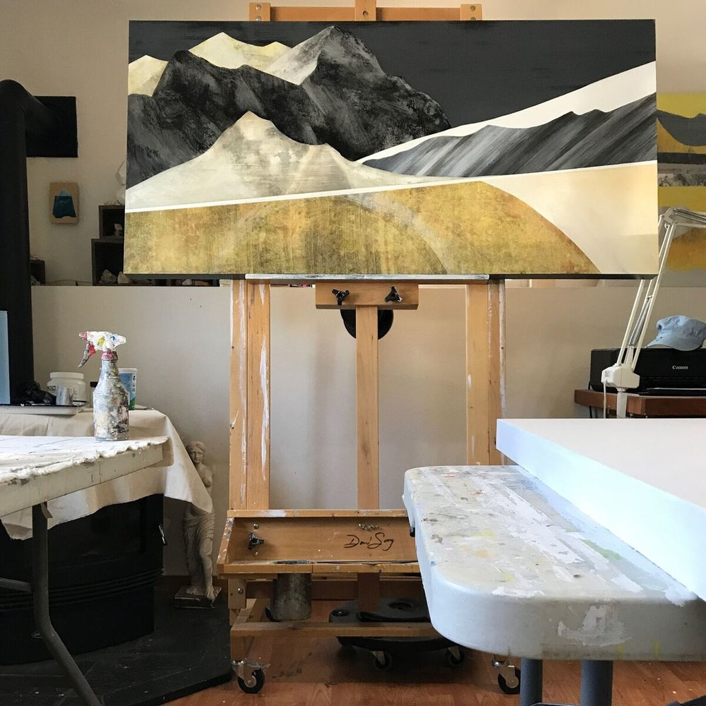 "Eclipse Shadow Bands, 30x60"" on the Easel"