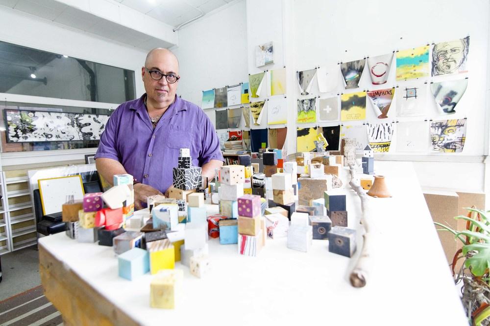 Chris Durante, an artist and NCC adjunct professor, in his Danbury studio.