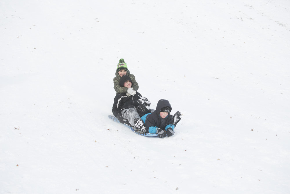 Sledding in New Britain, Conn.