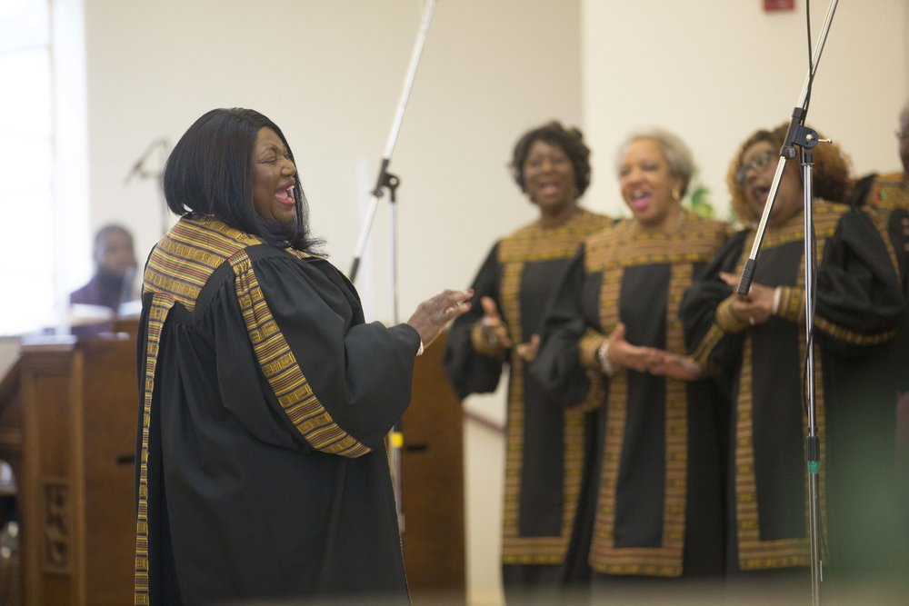 The New Hope Choir performed at a recent Black History Month performance at the church.