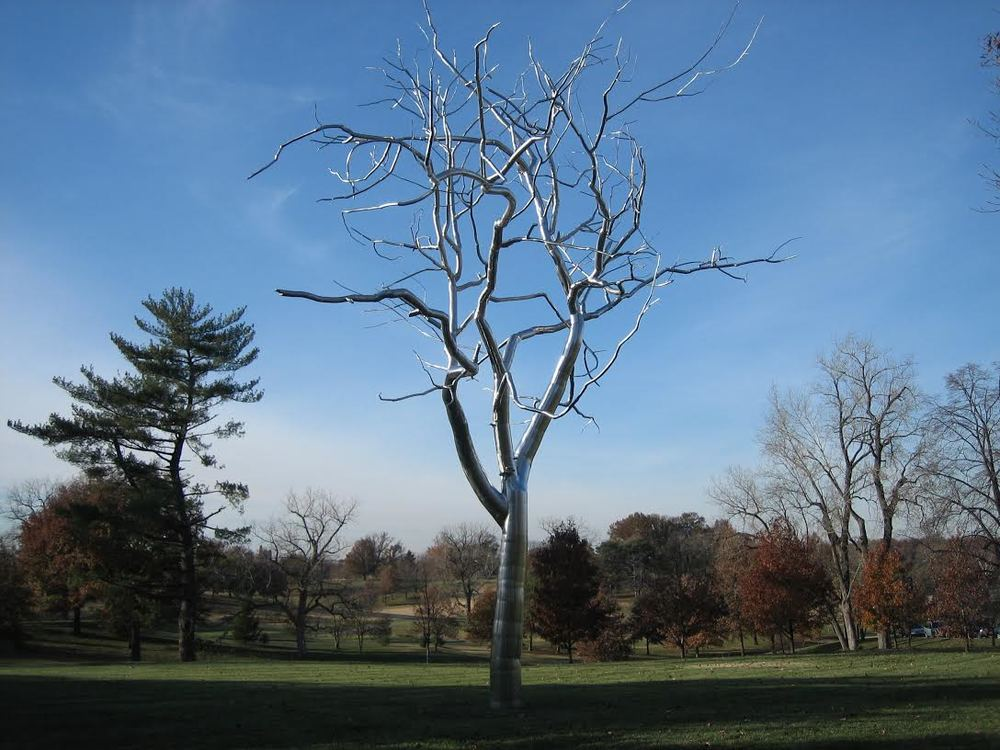 Placebo, 2004 stainless steel sculpture by Roxy Paine at the St. Louis Art Museum