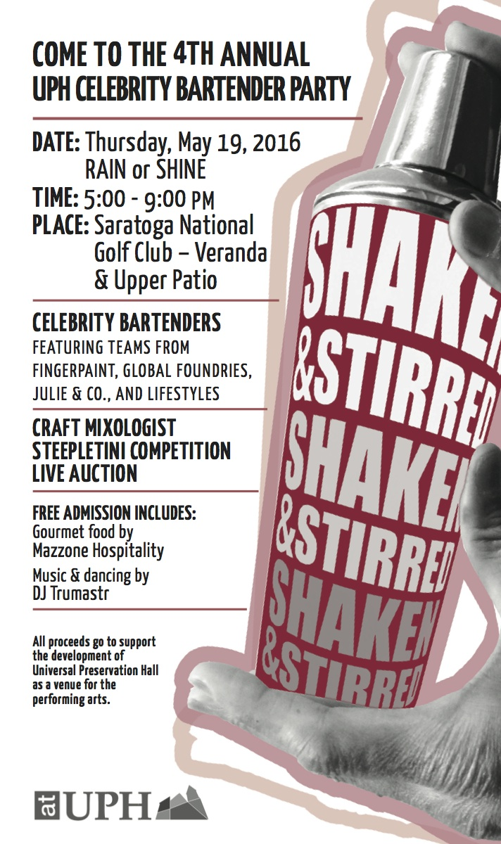 Our Shaken & Stirred Fundraiser will be May 19th at Saratoga National.  click here for more info.