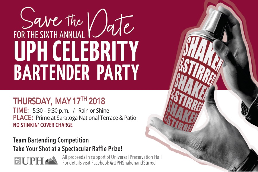 Save the Date! - Details on our HUGE fundraiser, Shaken & Stirred Celebrity Bartending Party, held on Thursday May 17th, can be found at www.facebook.com/UPHShakenandStirred.