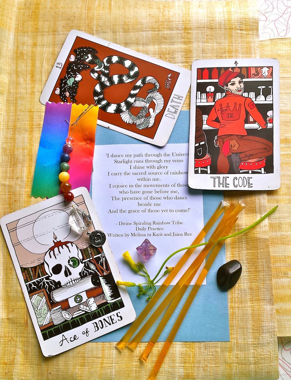 Treasures from the Rainbow Moon Circle Rite of Becoming, February 2016, honoring Panprosdexia, the Agender deity of the Tetrad++ (tarot cards from the Collective Tarot)