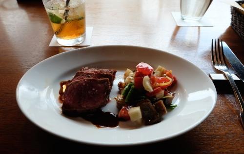 Beef steak, eggplant warm salad