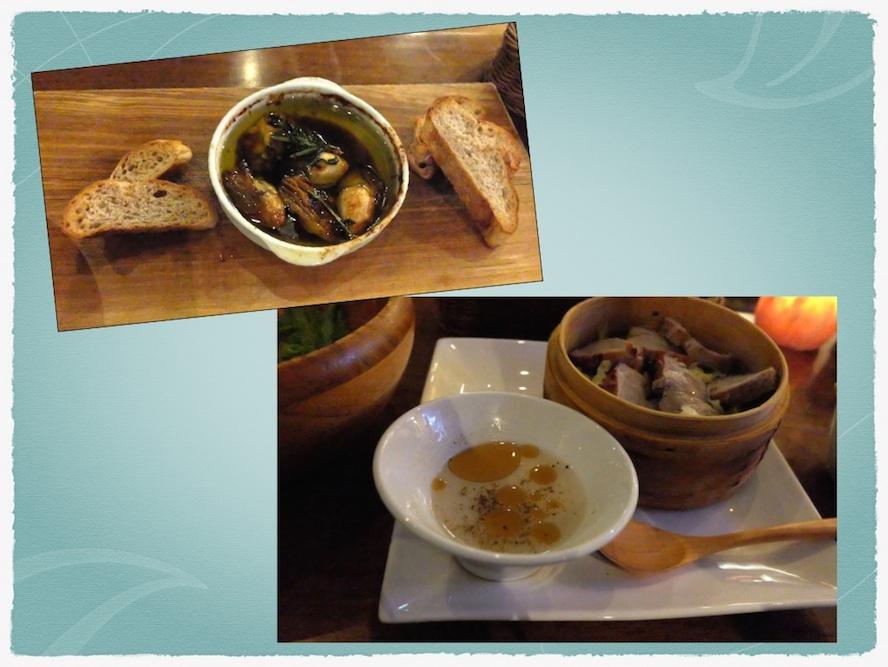お料理も種類豊富で、美味しい♡ 春キャベツと豚ヒレ、広島産牡蠣のアヒージョとか。。