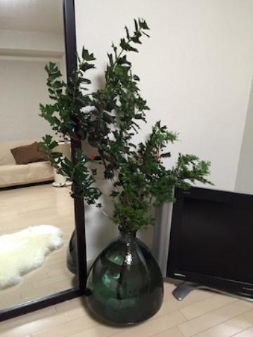 家を空けることが多いこの時期だから、観葉植物は増やさないで、枝ものを。  インポートの柊と薫りのよいモミの小枝。 Holy Night...