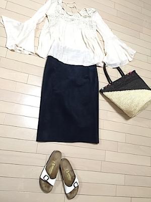 これも一例。ベルスリーブのブラウス+スエードスカート+ビルケン。。この身軽感。。ちょっといいでしょ?