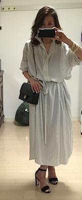 大好きなThe Rowのシルクシャツドレス。男子にも女子にも褒められるこんなドレスは便利〜!