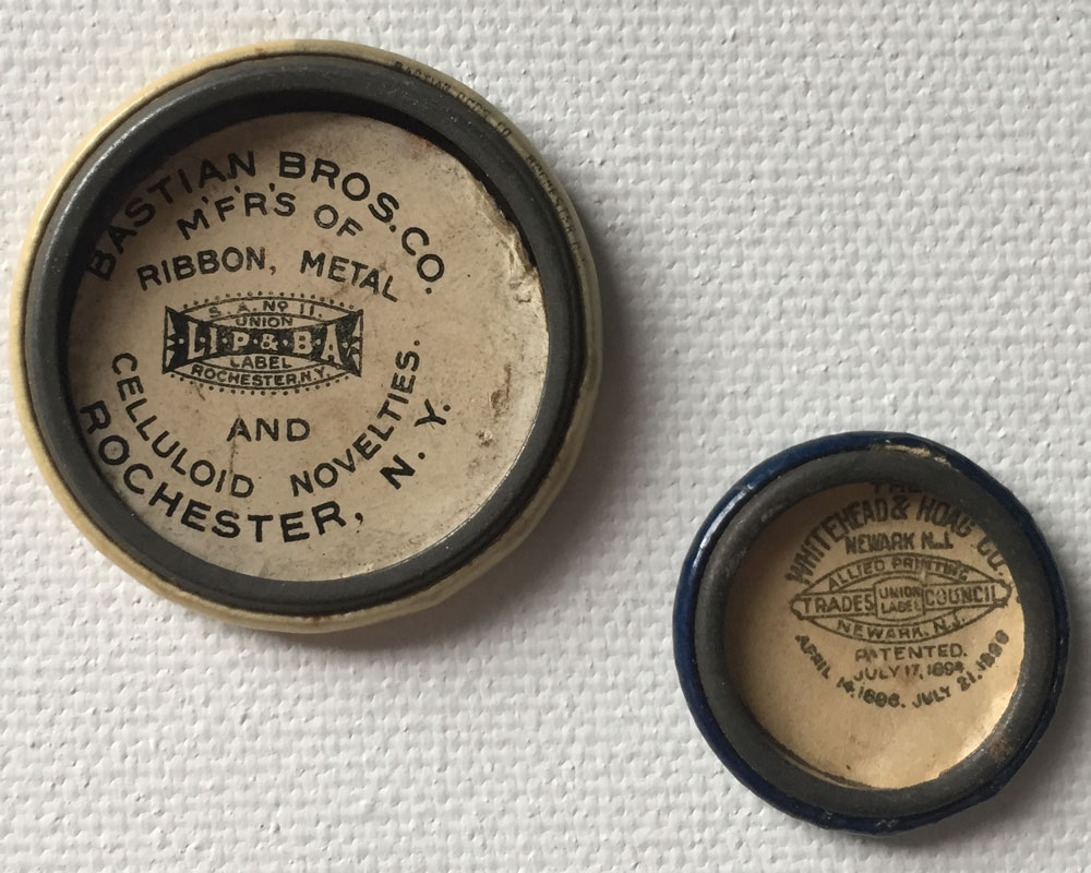 "Many older buttons have ""back paper,"" which is important to collectors. Two of the earliest manufacturers were Bastian Bros. of Rochester, NY, and Whitehead & Hoag, of Newark, NJ."