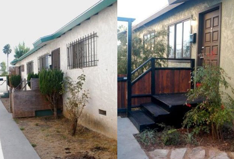 Walkway before & after