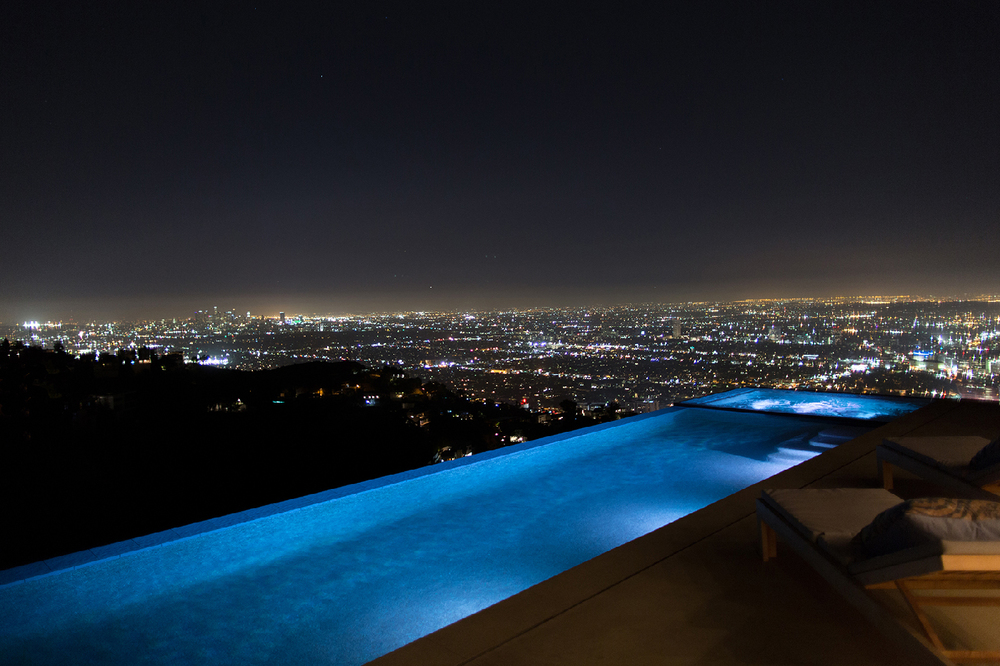 Infinity Pool at Night Overlooking Los Angeles