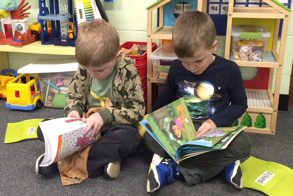 In all of our Kindergarten Readiness programs, children develop their emergent reader skills at a pace that is right for them.