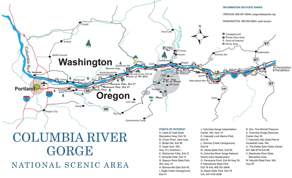 Columbia River Gorge Map Image Gallery HCPR