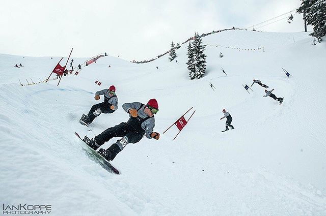 Day 2 of the #legendarymtbakerbankedslalom was a BLAST! #Shuksan even came out from the fog to play a little.  Here's @patrickmccarthy shredding the course! #mtbaker #snowboarding #slalom @mtbakerskiarea @therealmtbakerskiarea