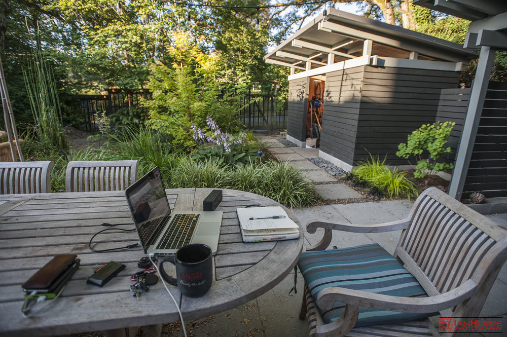 Backyard office for the morning -