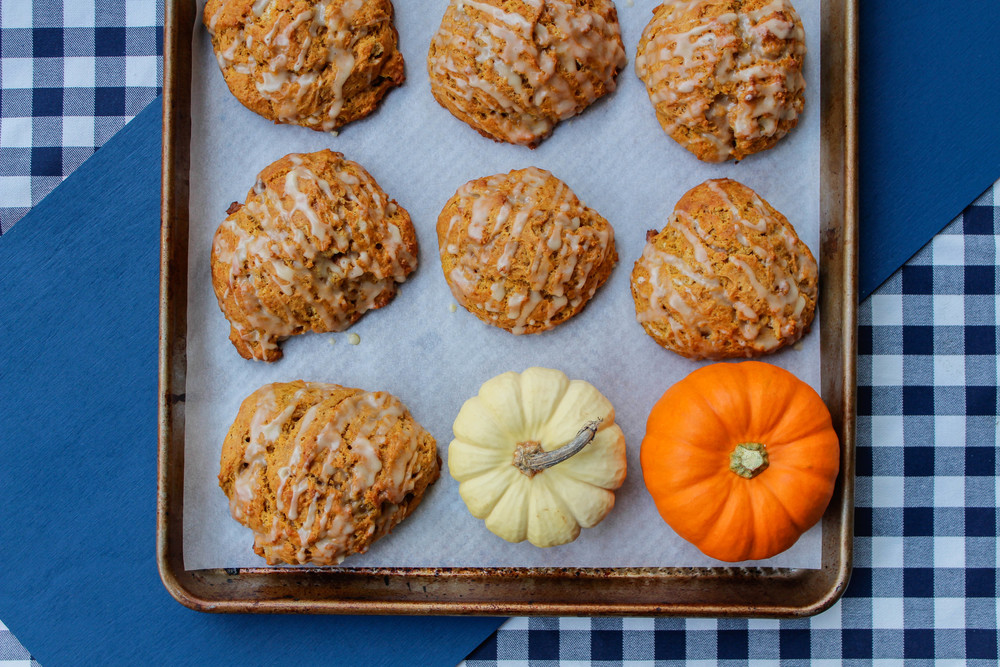 Pumpkin Scones + Maple Glaze