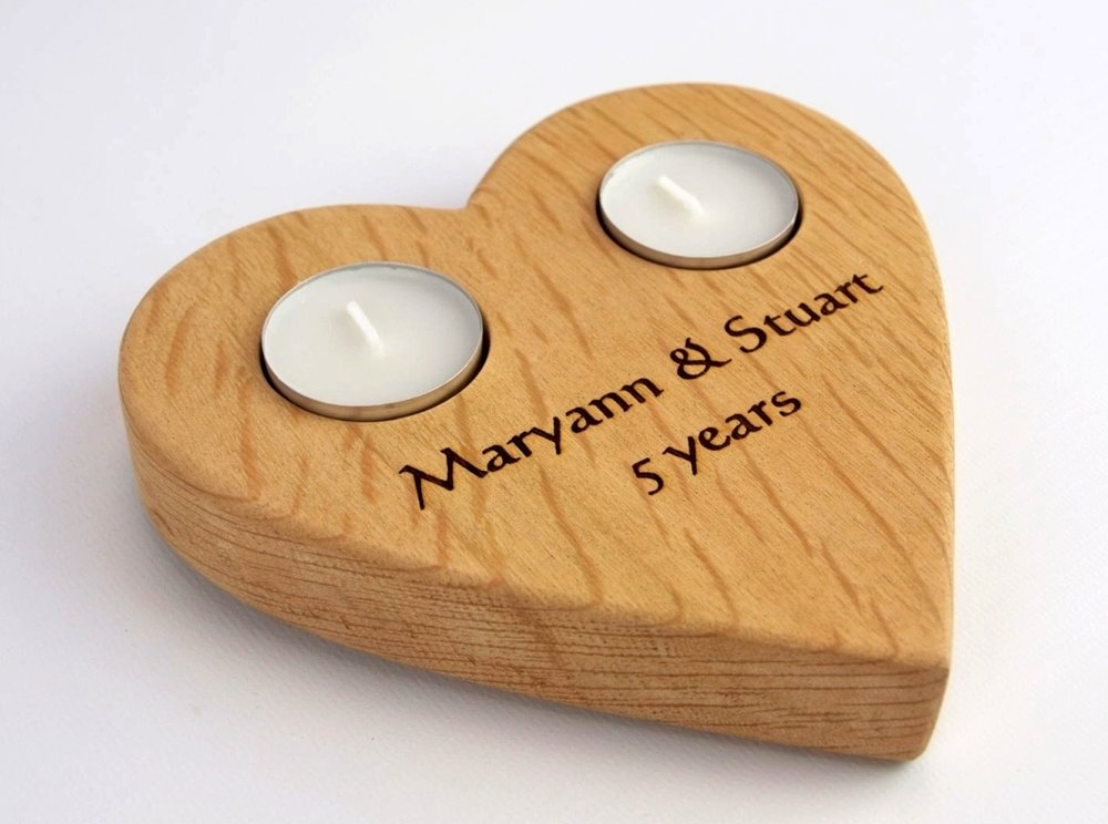 Personalised Large Heart tealight holder