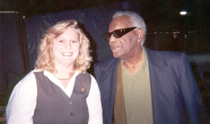 Julie on a rehearsal break with Ray Charles (one of nine concerts over several years)