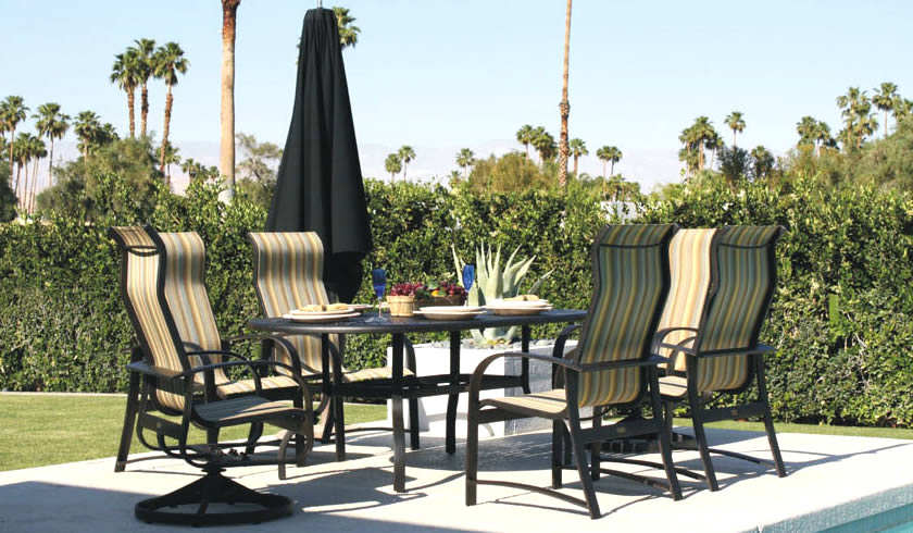 Patio renaissance hermosa sling outdoor dining furniture for Outdoor furniture 28277