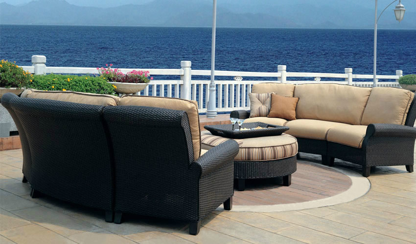 Patio renaissance monterey wicker outdoor large sectional for Outdoor furniture 28277