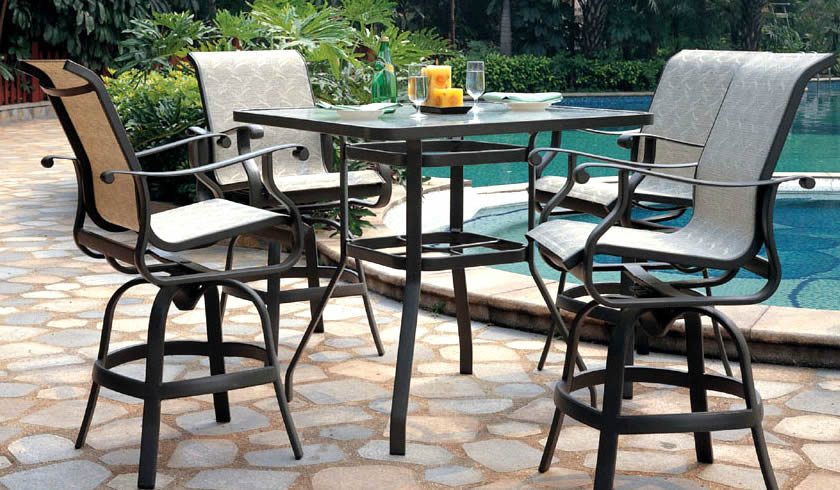 Patio renaissance mandalay sling outdoor high dining for Outdoor furniture 28277