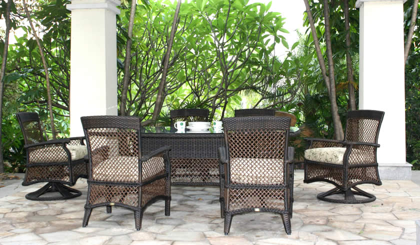 Windsor Wicker Dining Set Patio Renaissance Outdoor Furniture