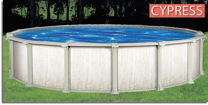 Cypress aboveground swimming pools oasis pools plus of for Big garden pools