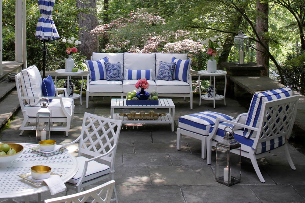 LATTICE White Cast Aluminum Lounge & Dining Collections by Summer Classics Outdoor Furniture