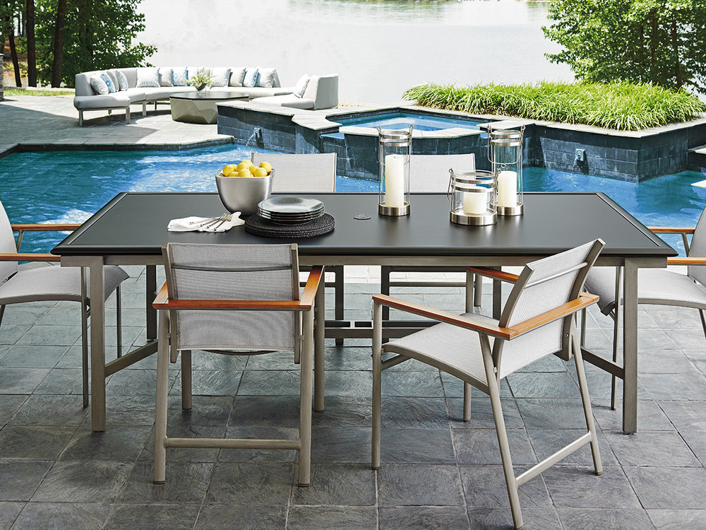 Tommy Bahama Outdoor Patio Furniture Oasis Outdoor Of Charlotte - Teak and aluminium outdoor table