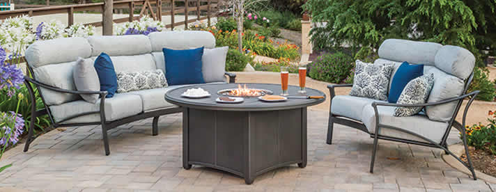 CORSICA Aluminum Outdoor Furniture Collection by Tropitone Outdoor Furniture  [Subject to availability. Pieces, frame finishes, and fabrics may vary from photo.]