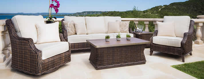 MONTICELLO Wicker Seating Collection by Patio Renaissance Outdoor Furniture  [Subject to availability. Pieces, frame finishes, and fabrics may vary from photo.]