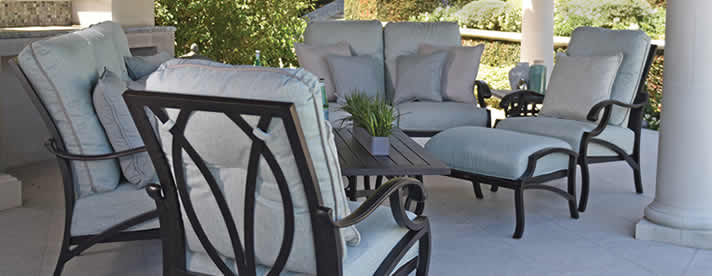 VOLARE Aluminum Seating Collection by Mallin Outdoor Furniture  [Subject to availability. Pieces, frame finishes, and fabrics may vary from photo.]