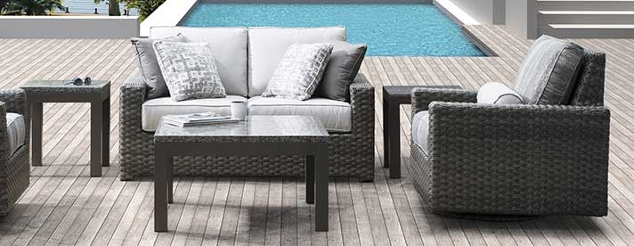 SANTA CRUZ Wicker Seating Collection by Erwin & Sons Outdoor Furniture  [Subject to availability. Pieces, frame finishes, and fabrics may vary from photo.]
