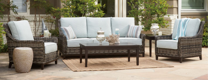 CATALINA Outdoor Wicker Seating Collection by Patio Renaissance Outdoor Furniture [Subject to availability. Pieces, frame finishes, and fabrics may vary from photo.]