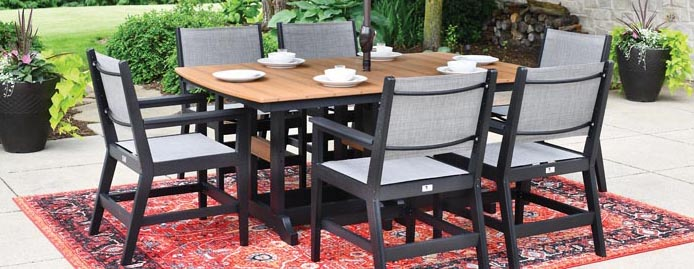 MAYHEW SLING Outdoor Poly Dining Collection by Berlin Gardens Outdoor Furniture [Subject to availability. Pieces, frame finishes, and fabrics may vary from photo.]