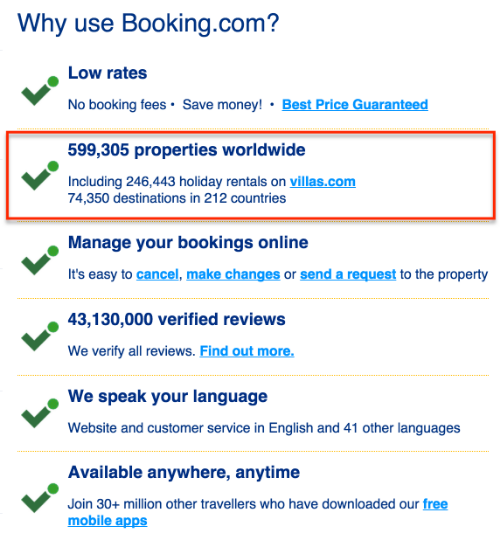 booking features