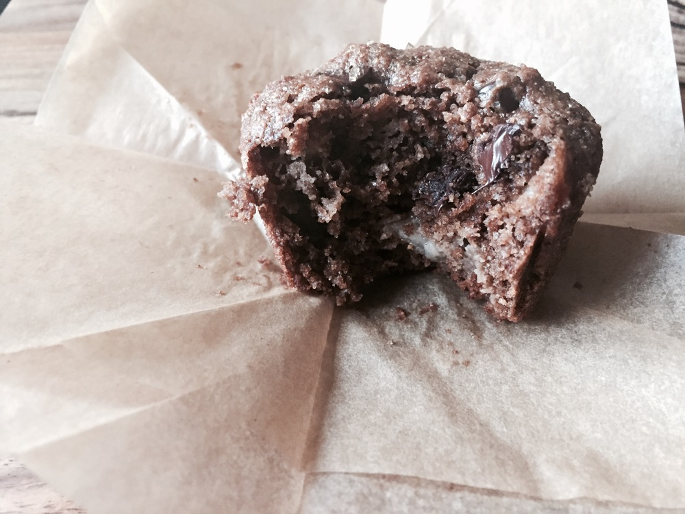 Dark Chocolate Buckwheat Muffins with Pear and Dried Cherries