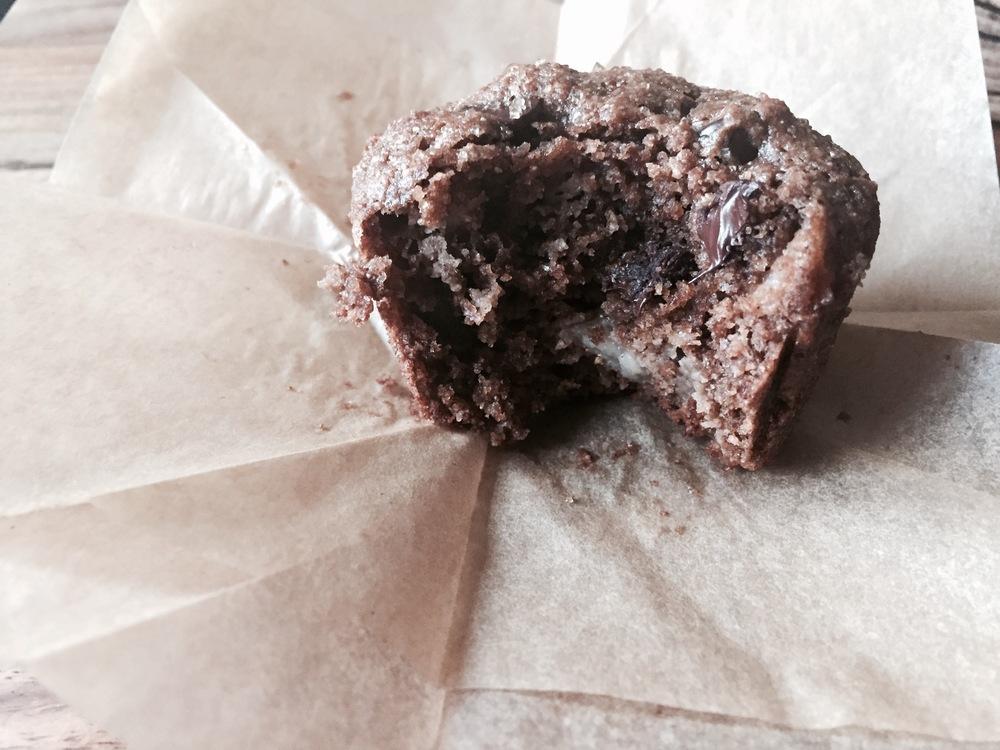 Dark Chocolate Buckwheat Muffins with Pear and Dried Cherries