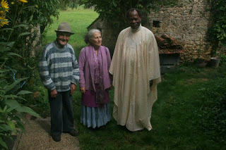 Dr. Apela Colorado (center) with    Roger Marty, traditional Occitan Healer, and Voodouin healer and M.D. Erick Gbdossou in the South of France