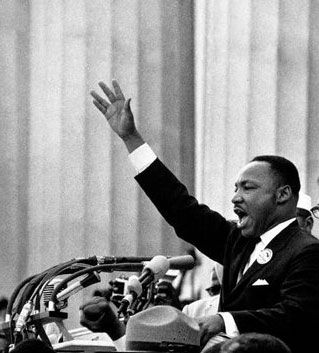 Doctor Martin Luther King, Jr. giving his I Have a Dream speech on August 28, 1963.