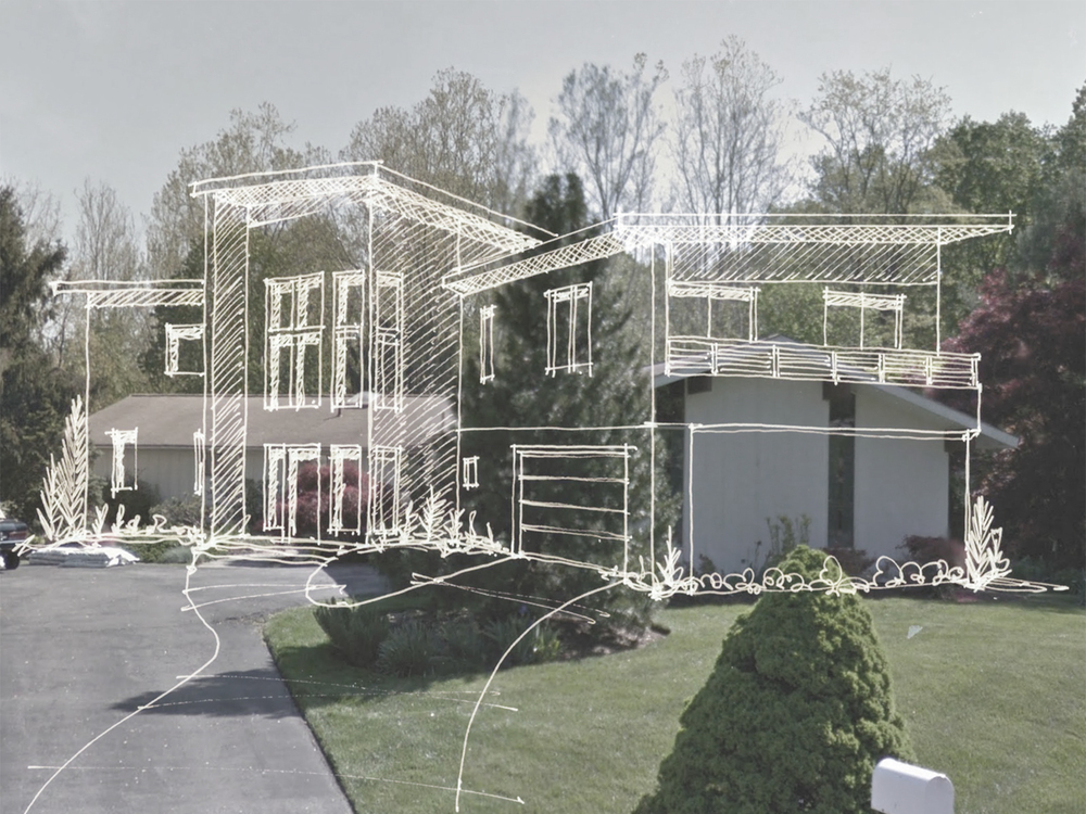 Sketch of the proposed design overlayed on a photo of the original house.