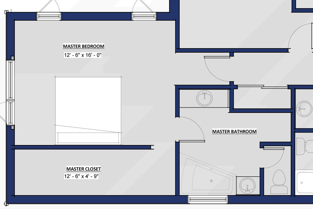 A smaller version of the first bedroom on this page. Single opening access to a smaller closet.