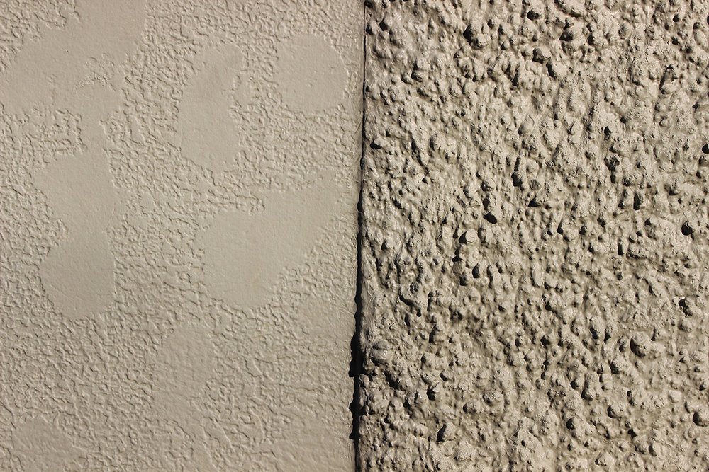 Left: Stucco finish Fiber Cement Panel Right: Popcorn stucco