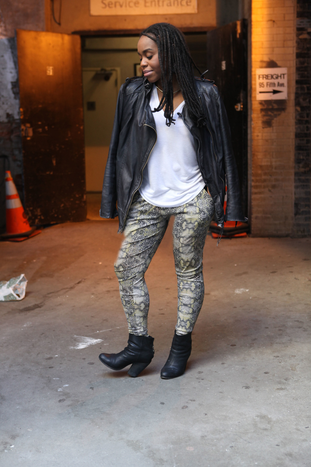 Pant: Evleo, Leather Jacket: Muubaa, Top: Helmut Lang, Boot: Rag & Bone