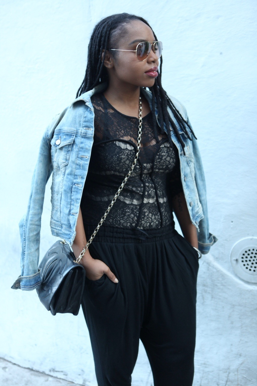 Denim Jacket:  Zara , Bodysuit:  Stylestalker , Sunglasses:  ,  Bag: Chanel