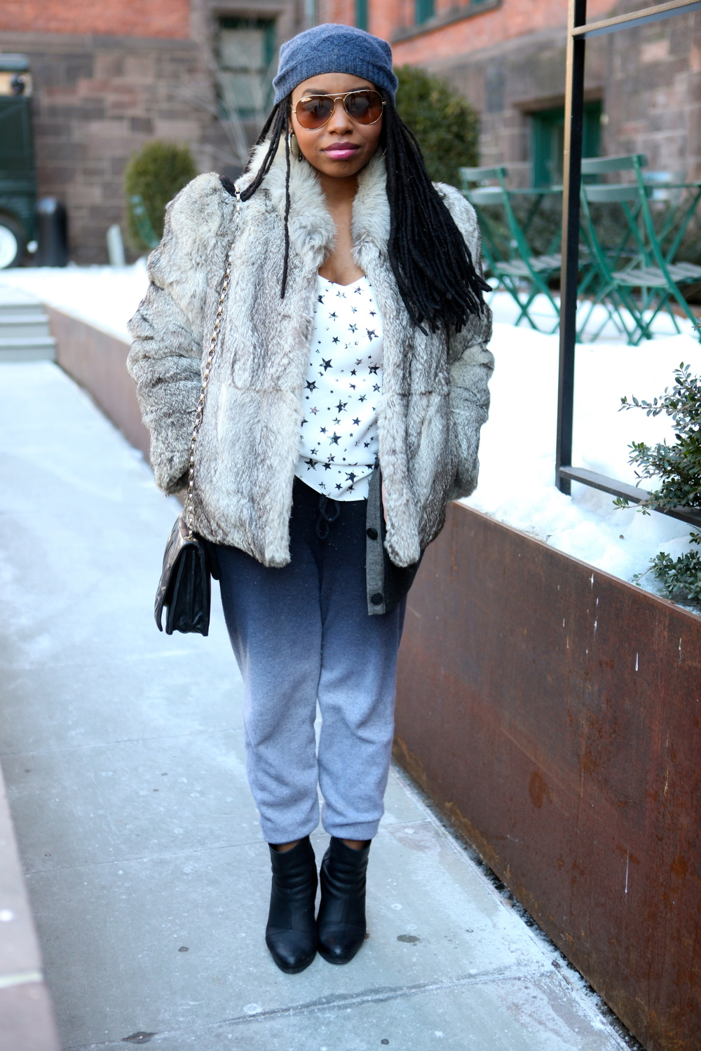 Coat: Vintage Faux Fur, Tank: Tibi, Cardigan: Ainsley, Sunglasses: Ray Ban, Boots: Rag & Bone